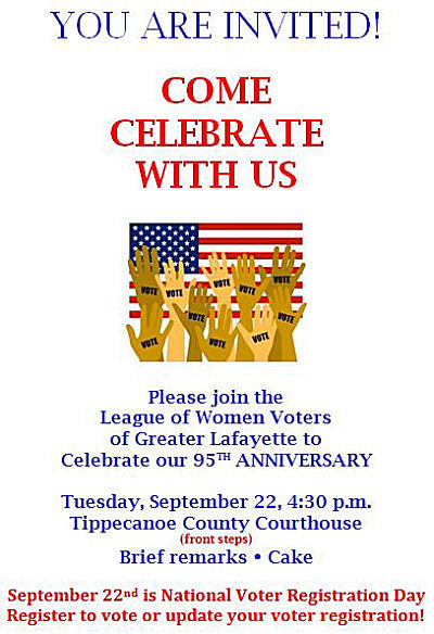 Greater Lafayette League of Women Voters 95th Anniversary Celebration